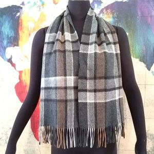 Vintage 100% Cashmere Plaid Scarf Made in England